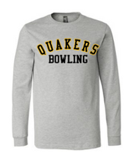Load image into Gallery viewer, QUAKER VALLEY BOWLING YOUTH & ADULT LONG SLEEVE TEE - BLACK OR ATHLETIC GREY