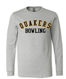 QUAKER VALLEY BOWLING YOUTH & ADULT LONG SLEEVE TEE - BLACK OR ATHLETIC GREY