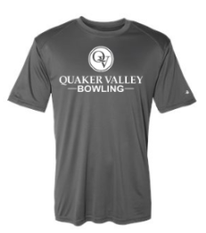QUAKER VALLEY BOWLING YOUTH & ADULT PERFORMANCE SOFTLOCK SHORT SLEEVE TEE - BLACK OR GRAPHITE