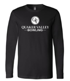 QUAKER VALLEY BOWLING-  YOUTH & ADULT PERFORMANCE SOFTLOCK LONG SLEEVE T-SHIRT - GRAPHITE OR BLACK