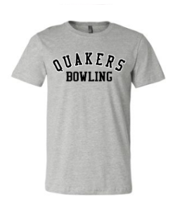 QUAKER VALLEY BOWLING TODDLER, YOUTH & ADULT SHORT SLEEVE T-SHIRT - BLACK OR ATHLETIC GRAY