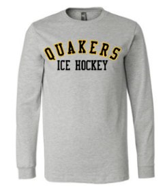 QUAKER VALLEY ICE HOCKEY YOUTH & ADULT LONG SLEEVE TEE - BLACK OR ATHLETIC GREY