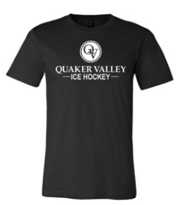 QUAKER VALLEY ICE HOCKEY TODDLER, YOUTH & ADULT SHORT SLEEVE T-SHIRT - BLACK OR ATHLETIC GRAY