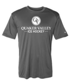 QUAKER VALLEY ICE HOCKEY YOUTH & ADULT PERFORMANCE SOFTLOCK SHORT SLEEVE TEE - BLACK OR GRAPHITE