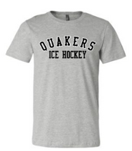 Load image into Gallery viewer, QUAKER VALLEY ICE HOCKEY TODDLER, YOUTH & ADULT SHORT SLEEVE T-SHIRT - BLACK OR ATHLETIC GRAY
