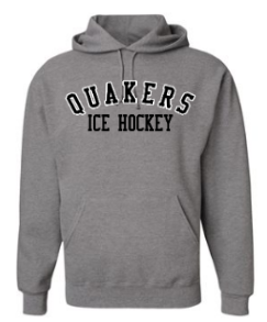QUAKER VALLEY ICE HOCKEY YOUTH & ADULT HOODED SWEATSHIRT - BLACK OR OXFORD GRAY