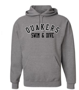 QUAKER VALLEY SWIM/DIVE YOUTH & ADULT HOODED SWEATSHIRT - BLACK OR OXFORD GRAY