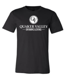 QUAKER VALLEY SWIM/DIVE TODDLER, YOUTH & ADULT SHORT SLEEVE T-SHIRT - BLACK OR ATHLETIC GRAY