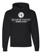 Load image into Gallery viewer, QUAKER VALLEY SWIM/DIVE YOUTH & ADULT HOODED SWEATSHIRT - BLACK OR OXFORD GRAY