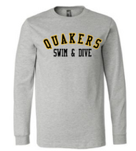 Load image into Gallery viewer, QUAKER VALLEY SWIM/DIVE YOUTH & ADULT LONG SLEEVE TEE - BLACK OR ATHLETIC GREY