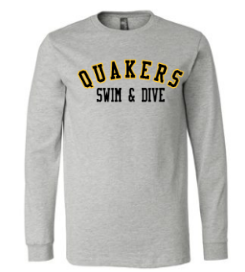 QUAKER VALLEY SWIM/DIVE YOUTH & ADULT LONG SLEEVE TEE - BLACK OR ATHLETIC GREY