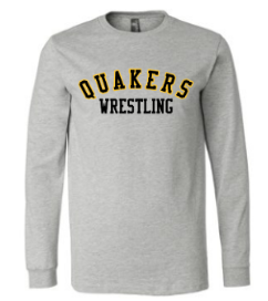 QUAKER VALLEY WRESTLING YOUTH & ADULT LONG SLEEVE TEE - BLACK OR ATHLETIC GREY