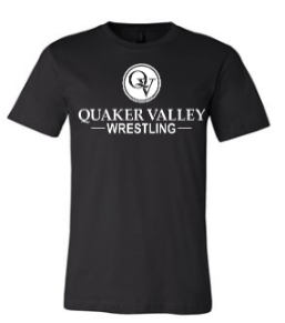QUAKER VALLEY WRESTLING TODDLER, YOUTH & ADULT SHORT SLEEVE T-SHIRT - BLACK OR ATHLETIC GRAY
