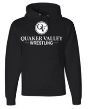 Load image into Gallery viewer, QUAKER VALLEY WRESTLING YOUTH & ADULT HOODED SWEATSHIRT - BLACK OR OXFORD GRAY