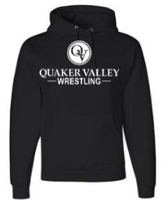QUAKER VALLEY WRESTLING YOUTH & ADULT HOODED SWEATSHIRT - BLACK OR OXFORD GRAY