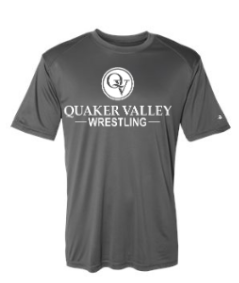 QUAKER VALLEY WRESTLING YOUTH & ADULT PERFORMANCE SOFTLOCK SHORT SLEEVE TEE - BLACK OR GRAPHITE