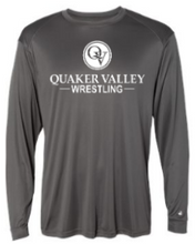 Load image into Gallery viewer, QUAKER VALLEY WRESTLING-  YOUTH & ADULT PERFORMANCE SOFTLOCK LONG SLEEVE T-SHIRT - GRAPHITE OR BLACK