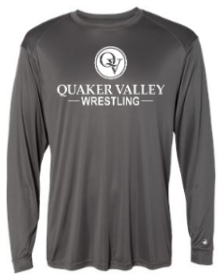 QUAKER VALLEY WRESTLING-  YOUTH & ADULT PERFORMANCE SOFTLOCK LONG SLEEVE T-SHIRT - GRAPHITE OR BLACK