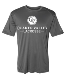 QUAKER VALLEY LACROSSE YOUTH & ADULT PERFORMANCE SOFTLOCK SHORT SLEEVE TEE - BLACK OR GRAPHITE
