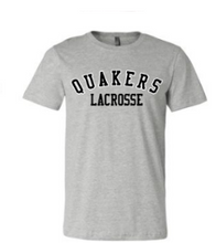 Load image into Gallery viewer, QUAKER VALLEY LACROSSE TODDLER, YOUTH & ADULT SHORT SLEEVE T-SHIRT - BLACK OR ATHLETIC GRAY