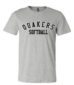 QUAKER VALLEY SOFTBALL TODDLER, YOUTH & ADULT SHORT SLEEVE T-SHIRT - BLACK OR ATHLETIC GRAY