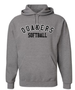 QUAKER VALLEY SOFTBALL YOUTH & ADULT HOODED SWEATSHIRT - BLACK OR OXFORD GRAY