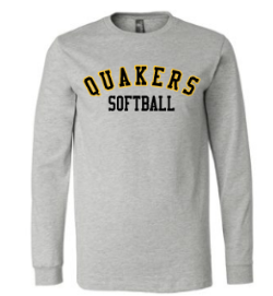 QUAKER VALLEY SOFTBALL YOUTH & ADULT LONG SLEEVE TEE - BLACK OR ATHLETIC GREY