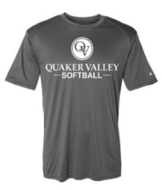 QUAKER VALLEY SOFTBALL YOUTH & ADULT PERFORMANCE SOFTLOCK SHORT SLEEVE TEE - BLACK OR GRAPHITE