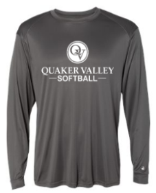 QUAKER VALLEY SOFTBALL-  YOUTH & ADULT PERFORMANCE SOFTLOCK LONG SLEEVE T-SHIRT - GRAPHITE OR BLACK