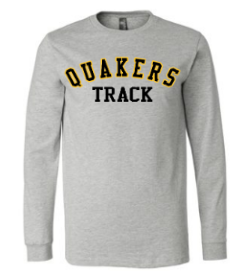 QUAKER VALLEY TRACK YOUTH & ADULT LONG SLEEVE TEE - BLACK OR ATHLETIC GREY