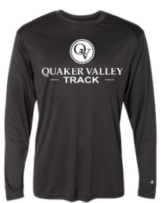 QUAKER VALLEY TRACK-  YOUTH & ADULT PERFORMANCE SOFTLOCK LONG SLEEVE T-SHIRT - GRAPHITE OR BLACK