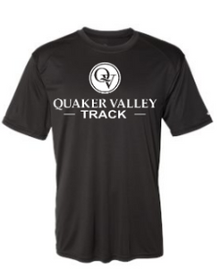 QUAKER VALLEY TRACK YOUTH & ADULT PERFORMANCE SOFTLOCK SHORT SLEEVE TEE - BLACK OR GRAPHITE