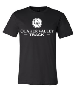 QUAKER VALLEY TRACK TODDLER, YOUTH & ADULT SHORT SLEEVE T-SHIRT - BLACK OR ATHLETIC GRAY