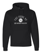 Load image into Gallery viewer, QUAKER VALLEY MARCHING BAND YOUTH & ADULT HOODED BLACK SWEATSHIRT - PRIDE OF QV OR QV MARCHING BAND DESIGN