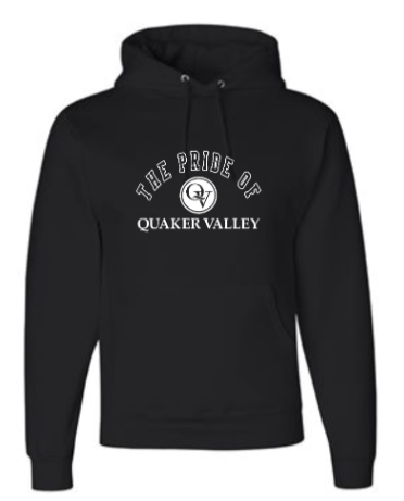 QUAKER VALLEY MARCHING BAND YOUTH & ADULT HOODED BLACK SWEATSHIRT - PRIDE OF QV OR QV MARCHING BAND DESIGN