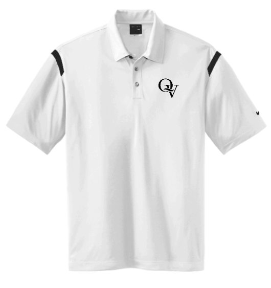 QUAKER VALLEY MEN'S EMBROIDERED NIKE DRY FIT SHOULDER STRIPE POLO - WHITE