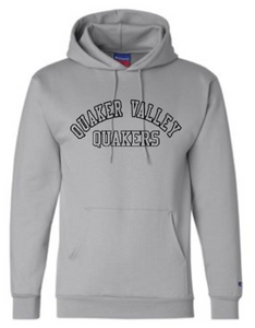 QUAKER VALLEY CHAMPION BRAND YOUTH & ADULT HOODED SWEATSHIRT - BLACK OR GRAY
