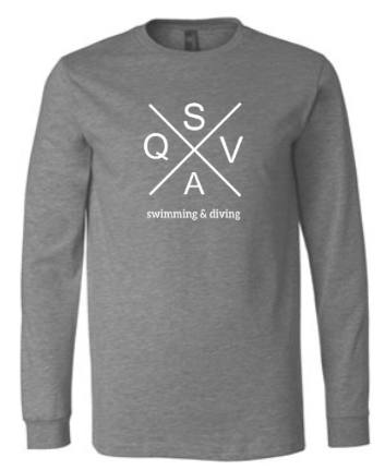 QVSA SWIMMING & DIVING: YOUTH & ADULT LONG SLEEVE T-SHIRT W/ 1 COLOR DESIGN