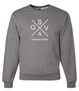 QVSA SWIMMING & DIVING: YOUTH & ADULT CREW NECK SWEATSHIRT W/ 1 COLOR DESIGN