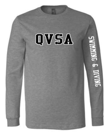 QVSA SWIMMING & DIVING: YOUTH & ADULT LONG SLEEVE T-SHIRT W/ 2 COLOR DESIGN