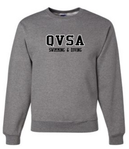 QVSA SWIMMING & DIVING: YOUTH & ADULT CREW NECK SWEATSHIRT W/ 2 COLOR DESIGN