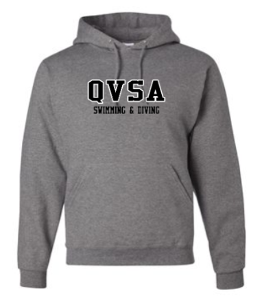 QVSA SWIMMING & DIVING: YOUTH & ADULT HOODED SWEATSHIRT- 2 COLOR DESIGN