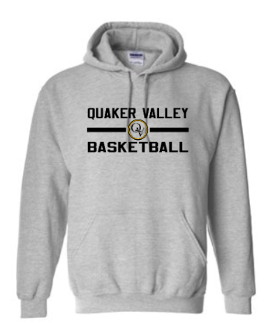QUAKER VALLEY BASKETBALL OFFICIAL TEAM YOUTH & ADULT HOODED SWEATSHIRT -  OXFORD GRAY