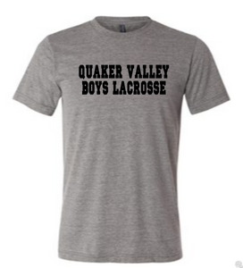 QUAKER VALLEY BOYS LACROSSE TODDLER, YOUTH & ADULT SHORT SLEEVE T-SHIRT - CROSS STICK OR TEXT DESIGN