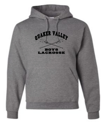 QUAKER VALLEY BOYS LACROSSE YOUTH & ADULT HOODED SWEATSHIRT -  CROSS STICK OR TEXT DESIGN
