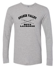 Load image into Gallery viewer, QUAKER VALLEY BOYS LACROSSE YOUTH & ADULT LONG SLEEVE TEE - CROSS STICK OR TEXT DESIGN
