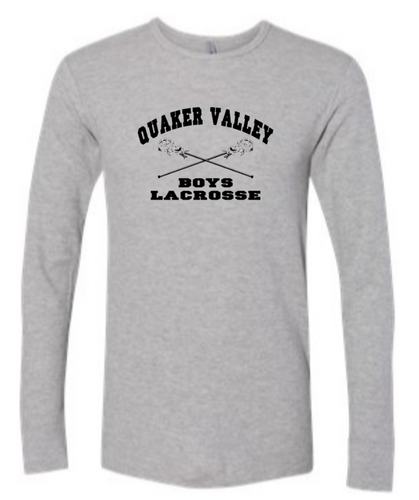 QUAKER VALLEY BOYS LACROSSE YOUTH & ADULT LONG SLEEVE TEE - CROSS STICK OR TEXT DESIGN