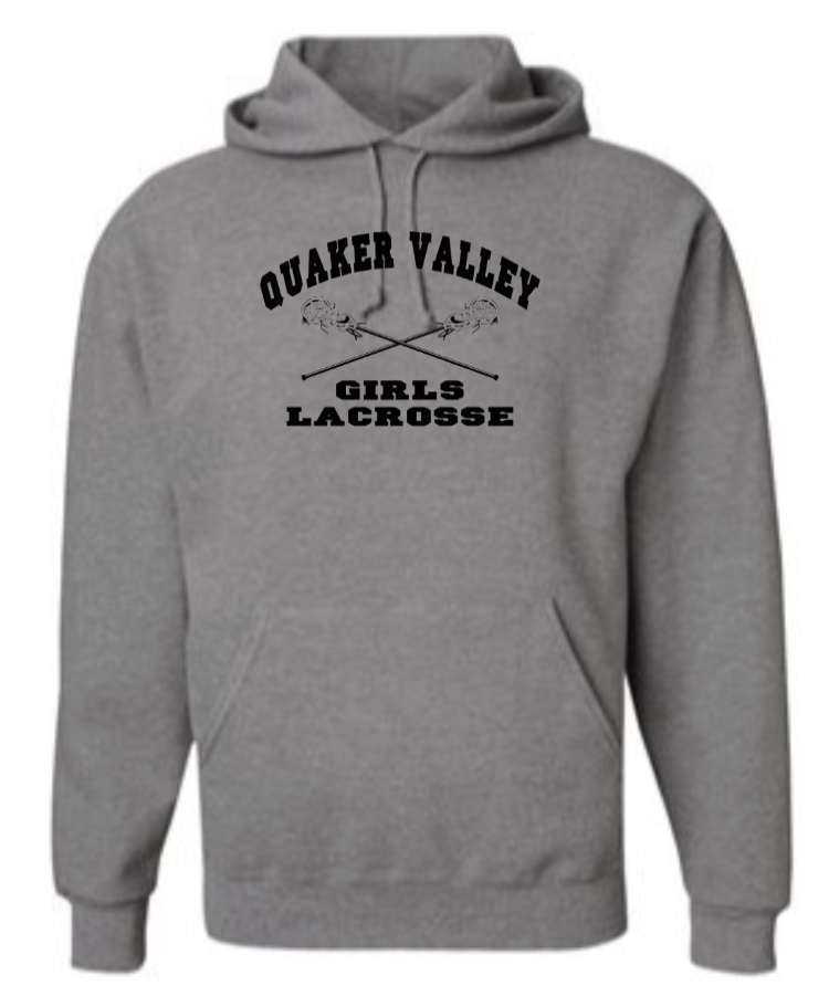 QUAKER VALLEY GIRLS LACROSSE YOUTH & ADULT HOODED SWEATSHIRT -  CROSS STICK DESIGN