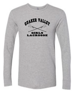 QUAKER VALLEY GIRLS LACROSSE YOUTH & ADULT LONG SLEEVE TEE - CROSS STICK DESIGN
