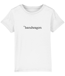 Kids White t-shirt, bandwagon slogan printed in Black